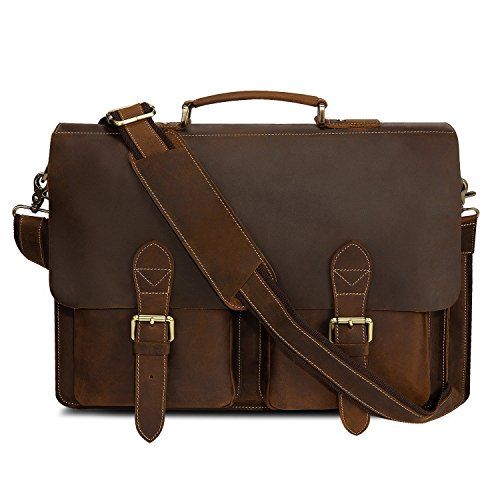 Kattee Handmade Genuine Leather Laptop Briefcase Messenger Bag Dark Coffee