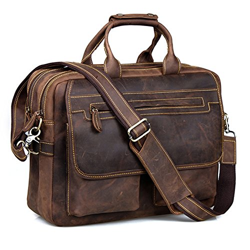 Kattee Crazy Horse Leather Briefcase Shoulder Business Laptop Bags Tote (Coffee)