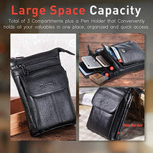 Load image into Gallery viewer, Hwin Men Travel Shoulder Bag Cell Phone Crossbody Purse Iphone 8 7 6 Plus Holster Case Leather Belt Waist Pouch Small Messenger Bag For Samsung Galaxy Note 10 9 8 S20 Ultra S10 S9 S8 Plus Lg G6 V30
