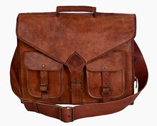 Load image into Gallery viewer, KPL 18 Inch Rustic Vintage Leather Messenger Bag Laptop Bag Briefcase Satchel Bag