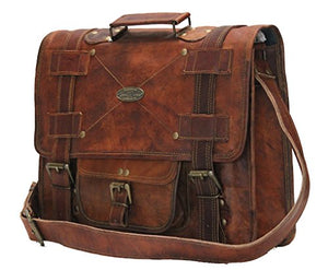 "Leather Bag Messenger Satchel Style for Laptop Distressed Style Bag  16"" x 12"""