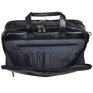 Alpine Swiss Monroe Leather Briefcase Top-Zip Laptop Messenger Bag Black