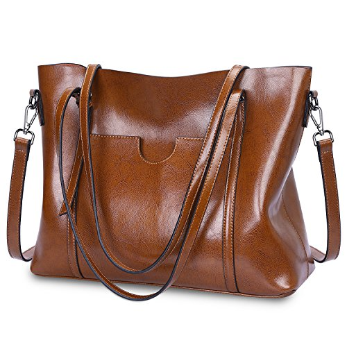 S-ZONE Women Genuine Leather Top Handle Satchel Daily Tote Shoulder Large Capacity Bag Dark Brown