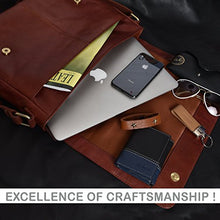 Load image into Gallery viewer, Leather Laptop Messenger Bag For Men Mens Office Briefcase Macbook Satchel Professional Side Bags For Men By Estalon Cognac Wax