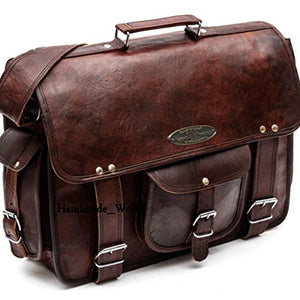 "Handmade_World leather messenger bags for men women 18"" mens briefcase laptop bag best computer shoulder satchel school distressed bag (13"" X 18"")"