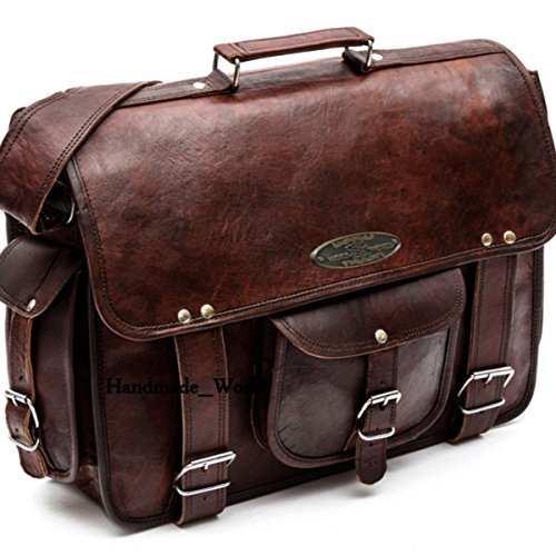 Handmade_World Leather Messenger Bags For Men Women 18 Mens Briefcase Laptop Bag Best Computer Shoulder Satchel School Distressed Bag 13 X 18
