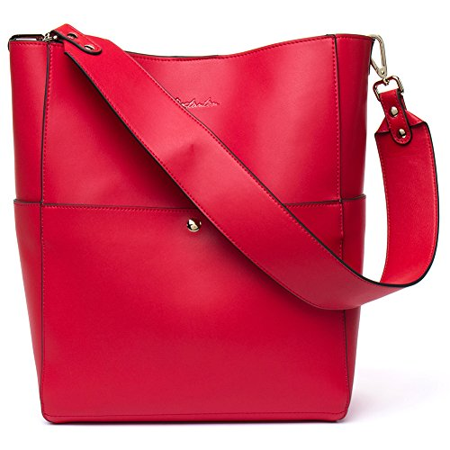 Bostanten Womens Leather Designer Handbags Tote Purses Shoulder Bucket Bags Red