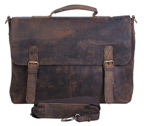 Komalc 15 Inch Retro Buffalo Hunter Leather Laptop Messenger Bag Office Briefcase College Bag 1