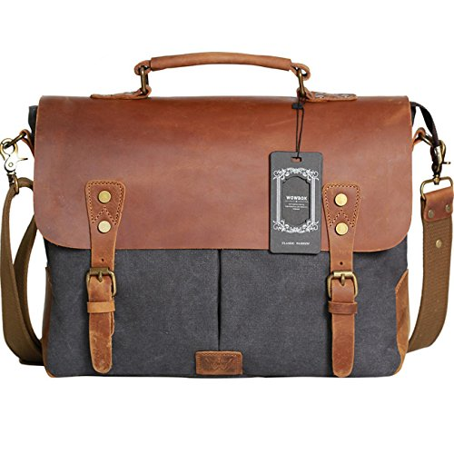 Wowbox Messenger Satchel Bag For Men And Women Vintage Canvas Real Leather 14 Inch Laptop Briefcase For Everday Use 13L X10 5H X 4 1Wgray