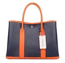 Load image into Gallery viewer, Ainifeel Women's Genuine Leather Top Handle Handbag Shopping Bag Tote Bag (Dark blue/orange)