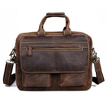 Load image into Gallery viewer, Kattee Crazy Horse Leather Briefcase Shoulder Business Laptop Bags Tote Coffee