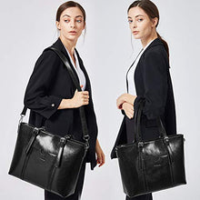 Load image into Gallery viewer, Bostanten Women Leather Laptop Tote Office Shoulder Handbag Vintage Briefcase 15 6 Inch Computer Work Purse Black