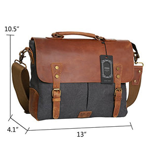 Wowbox Messenger Satchel Bag For Men And Women Vintage Canvas Real Leather 14 Inch Laptop Briefcase For Everday Use 13L X10 5H X 4 1W