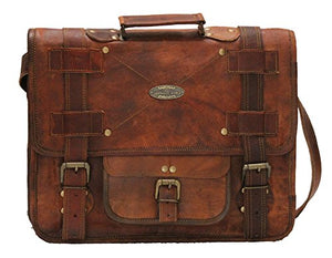 "Leather Bag Messenger Satchel Style for Laptop Distressed Bag  15"" x 11"""