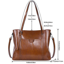 Load image into Gallery viewer, S-ZONE Women Genuine Leather Top Handle Satchel Daily Tote Shoulder Large Capacity Bag Dark Brown