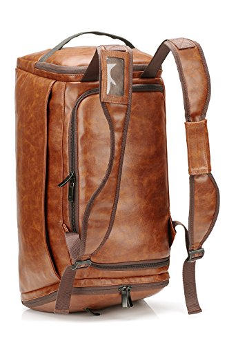 Leather Duffel Bag | Large Capacity Weekend Overnight Travel Gym Sport Luggage Tote for Men and Women – By (vintage brown)