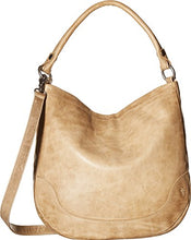 Load image into Gallery viewer, Frye Melissa Hobo Leather Handbag Front Sand Color