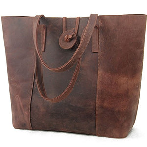 Jack Chris New Vintage Cowhide Leather Handbag Tote Shoulder Bag Purse Mc506 Brown