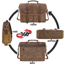 Load image into Gallery viewer, Messenger Bag 15.6 inch Waterproof Vintage Genuine Leather Waxed Canvas Briefcase Large Satchel Shoulder Laptop Bag, Brown
