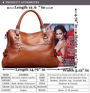 AINIMOER Womens Genuine Leather Vintage Tote Shoulder Bag Top-handle Crossbody Handbags Large Capacity Ladies' Purse (Sorrel)