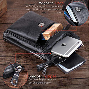 Hwin Men Travel Shoulder Bag Cell Phone Crossbody Purse Iphone 8 7 6 Plus Holster Case Leather Belt Waist Pouch Small Messenger Bag For Samsung Galaxy Note 10 9 8 S20 Ultra S10 S9 S8 Plus Lg G6 V30