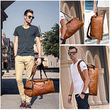 Load image into Gallery viewer, Leather Duffel Bag | Large Capacity Weekend Overnight Travel Gym Sport Luggage Tote for Men and Women – By (vintage brown)
