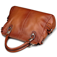 Load image into Gallery viewer, AINIMOER Womens Genuine Leather Vintage Tote Shoulder Bag Top-handle Crossbody Handbags Large Capacity Ladies' Purse (Sorrel)