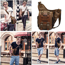 Load image into Gallery viewer, Mens Boys Vintage Canvas Shoulder Military Messenger Bag Sling School Bags Chest Military Leather Patchwork Messenger Bagkhaki Great Christmas Birthday Gift For Families And Friends