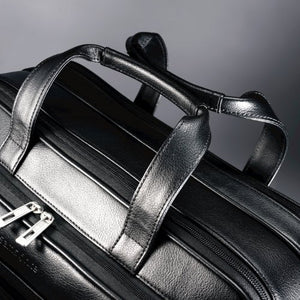 Samsonite Leather Expandable Briefcase Black
