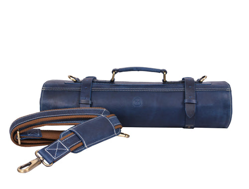 Leather Knife Roll Storage Bag | Elastic and Expandable 10 Pockets | Adjustable/Detachable Shoulder Strap | Travel-Friendly Chef Knife Case | Perfect Gift Idea (Royal Blue, Leather)