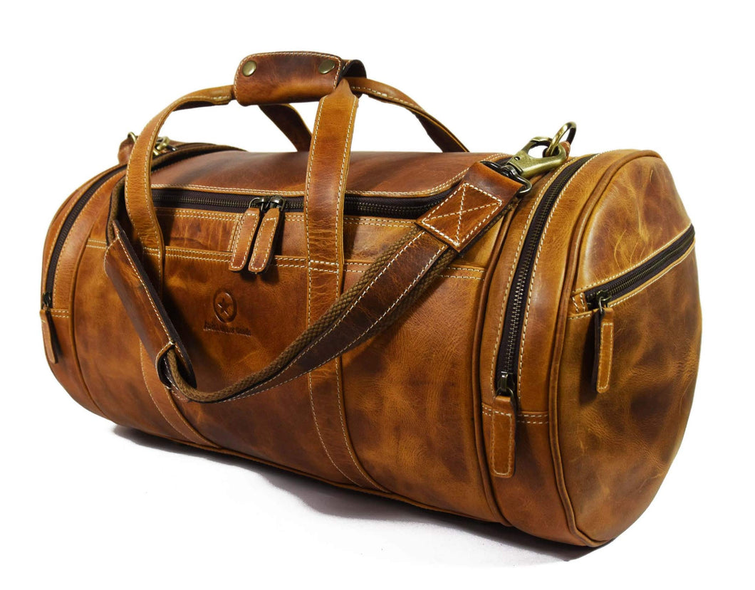 Travel Duffel Overnight Barrel Weekend Leather Bag By Aaron Leather Brown