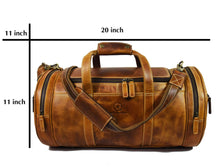 Load image into Gallery viewer, Travel Duffel Overnight Barrel Weekend Leather Bag By Aaron Leather Brown