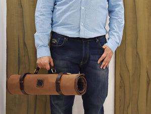 Leather Knife Roll Storage Bag Elastic And Expandable 10 Pockets Adjustable Detachable Shoulder Strap Travel Friendly Chef Knife Case Roll By Aaron Leather Peanut Canvas