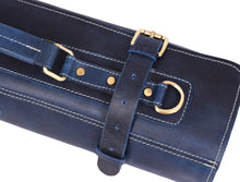 Load image into Gallery viewer, Leather Knife Roll Storage Bag Elastic And Expandable 10 Pockets Adjustable Detachable Shoulder Strap Travel Friendly Chef Knife Case Perfect Gift Idea Royal Blue Leather
