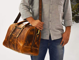 Leather Travel Duffle Bag Gym Sports Bag Airplane Luggage Carry On Bag By Aaron Leather Caramel