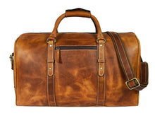 Load image into Gallery viewer, Leather Travel Duffle Bag Gym Sports Bag Airplane Luggage Carry On Bag By Aaron Leather Caramel