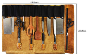 Leather Knife Roll Storage Bag | Elastic And Expandable 10 Pockets | Adjustable/Detachable Shoulder Strap | Travel Friendly Chef Knife Case Roll By Aaron Leather (Caramel, Leather) Showing Meassures