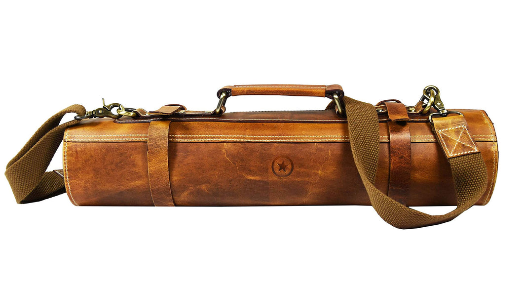 Leather Knife Roll Storage Bag | Elastic And Expandable 10 Pockets | Adjustable/Detachable Shoulder Strap | Travel Friendly Chef Knife Case Roll By Aaron Leather (Caramel, Leather)