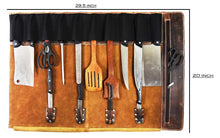Load image into Gallery viewer, Leather Knife Roll Storage Bag | Elastic And Expandable 10 Pockets | Adjustable/Detachable Shoulder Strap | Travel Friendly Chef Knife Case Roll By Aaron Leather (Walnut (Brown Lining), Leather) Showing Interior Dimensions