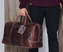 Load image into Gallery viewer, Leather Travel Duffle Bag Gym Sports Bag Airplane Luggage Carry On Bag By Aaron Leather Brown