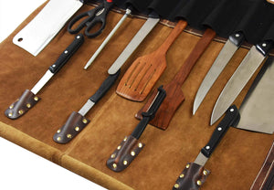 Leather Knife Roll Storage Bag | Elastic And Expandable 10 Pockets | Adjustable/Detachable Shoulder Strap | Travel Friendly Chef Knife Case Roll By Aaron Leather (Walnut (Brown Lining), Leather) Showing Sample Of Options With Knives Inside