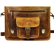 Load image into Gallery viewer, 15 Inch Vintage Leather Messenger Satchel Bag Briefcase Laptop Messenger Bag By Aaron Leather Caramel Brown