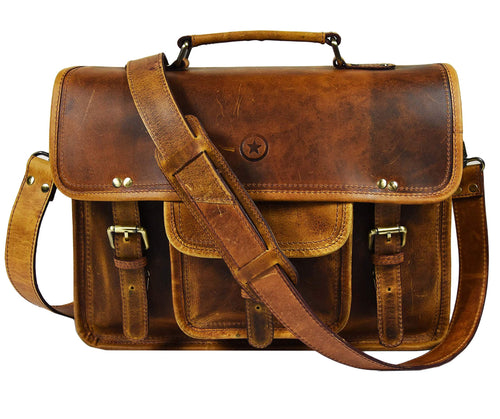 15 Inch Vintage Leather Messenger Satchel Bag Briefcase Laptop Messenger Bag By Aaron Leather Caramel Brown