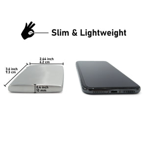 BD Wallet - Slim Wallet - Minimalist Wallet - Brushed Stainles Steel - Compared to Phone