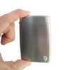 BD Wallet - Slim Wallet - Minimalist Wallet - Brushed Stainles Steel - Held by hand