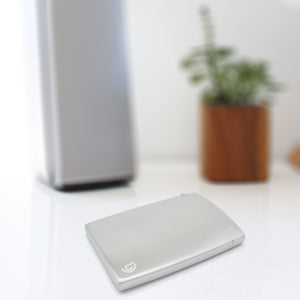 BD Wallet - Slim Wallet - Minimalist Wallet - Brushed Stainles Steel - Laying in the house