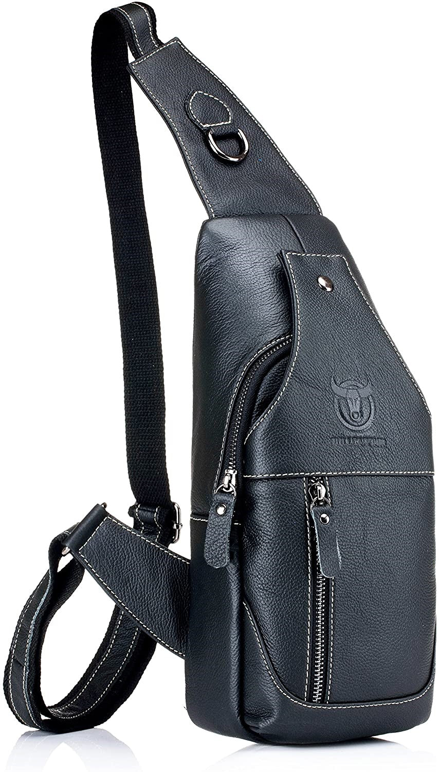 Black Leather Crossbody Bag Genuine Leather Chest Shoulder Backpack Crossbody Purse Water Resistant Anti Theft Back Angle View