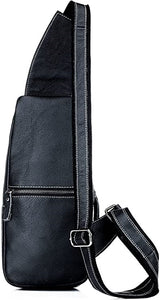 Black Leather Crossbody Bag Genuine Leather Chest Shoulder Backpack Crossbody Purse Water Resistant Anti Theft Back View