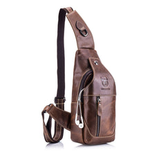 Load image into Gallery viewer, Texu Bullcaptain Mens Sling Bag Genuine Leather Chest Shoulder Backpack Cross Body Purse Water Resistant Anti Theft For Travel