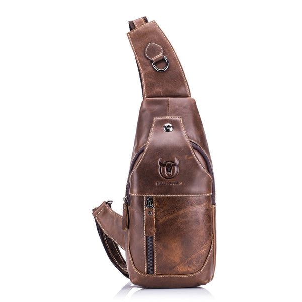 Texu Bullcaptain Mens Sling Bag Genuine Leather Chest Shoulder Backpack Cross Body Purse Water Resistant Anti Theft For Travel